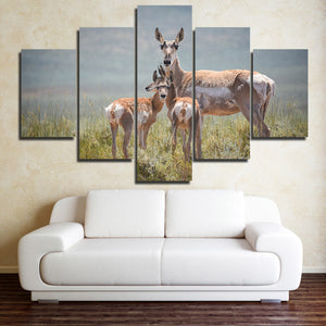Deer Family Canvas Painting 5 Panel Animal Print Picture Poster-128 (3)