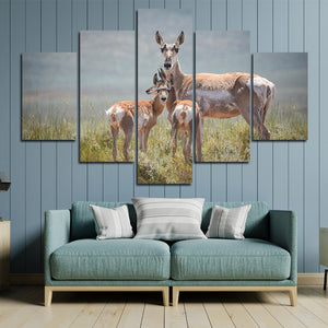 Deer Family Canvas Painting 5 Panel Animal Print Picture Poster-128 (4)
