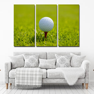 Golf Ball at Start 3 Panel Modern Canvas Picture Print Wall Art Decor-120 (1)