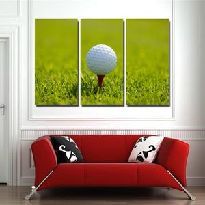 Golf Ball at Start 3 Panel Modern Canvas Picture Print Wall Art Decor-120 (2)
