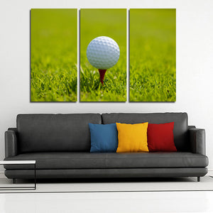 Golf Ball at Start 3 Panel Modern Canvas Picture Print Wall Art Decor-120 (3)