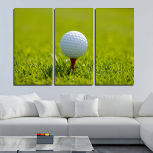 Golf Ball at Start 3 Panel Modern Canvas Picture Print Wall Art Decor-120 (4)