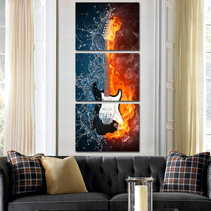Guitar in Fire and Water 3 Panel Canvas Print Wall Painting Decor Art-119 (1)