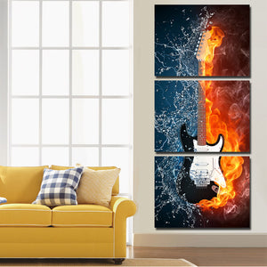 Guitar in Fire and Water 3 Panel Canvas Print Wall Painting Decor Art-119 (2)