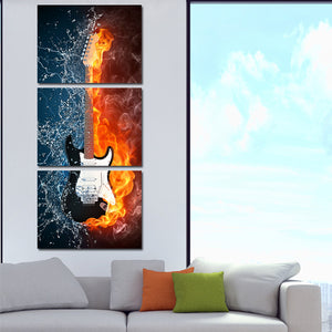 Guitar in Fire and Water 3 Panel Canvas Print Wall Painting Decor Art-119 (3)