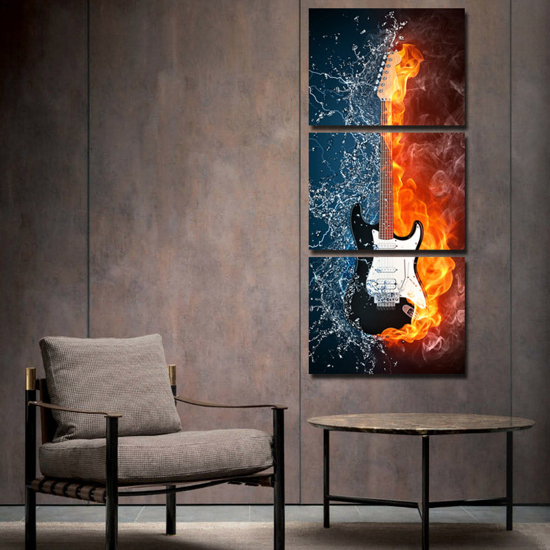 Guitar In Fire And Water 3 Panel Canvas Print Wall Painting Decor Art