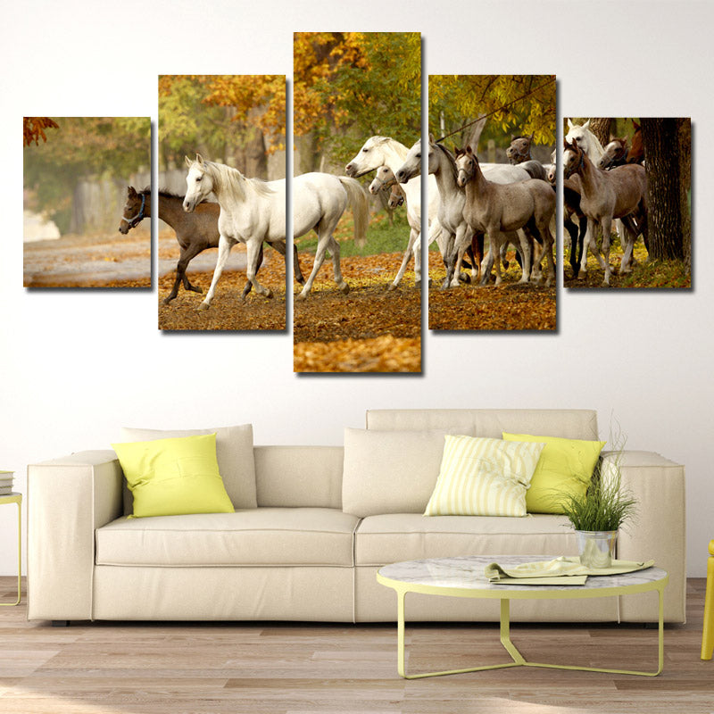 Herd of Horses Wall Art 5 Panel Canvas Print Poster Painting Picture ...