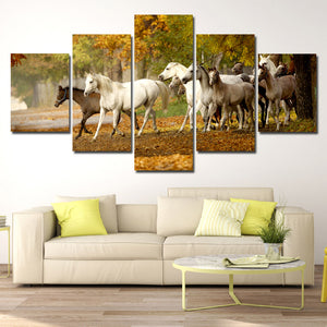 Herd of Horses Wall Art 5 Panel Canvas Print Poster Painting Picture-131 (1)