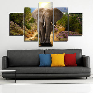 Home Decor Print Picture 5 Panel Animal Elephant Canvas Art-107 (3)