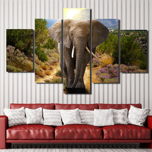 Home Decor Print Picture 5 Panel Animal Elephant Canvas Art-107 (4)