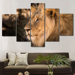 Lion Staring Print Picture 5 Panel Wall Art Animal Canvas Painting-123 (1)