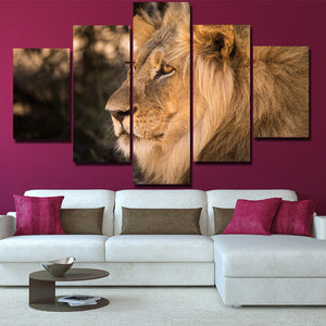 Lion Staring Print Picture 5 Panel Wall Art Animal Canvas Painting-123 (2)