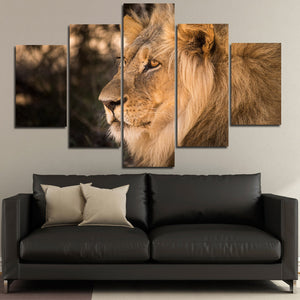 Lion Staring Print Picture 5 Panel Wall Art Animal Canvas Painting-123 (3)