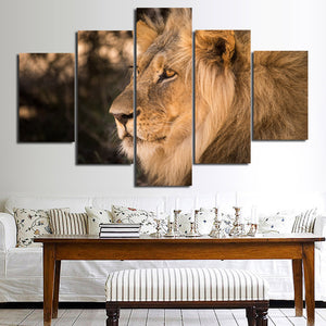 Lion Staring Print Picture 5 Panel Wall Art Animal Canvas Painting-123 (4)