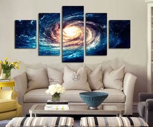 Modern 5 Panel Canvas Painting Universe Galaxy Picture Prints-065 (1)