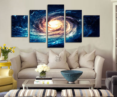 Modern 5 Panel Canvas Painting Universe Galaxy Picture Prints Wall Art
