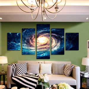 Modern 5 Panel Canvas Painting Universe Galaxy Picture Prints-065 (3)