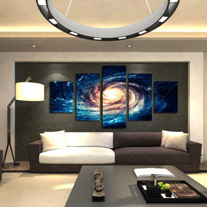 Modern 5 Panel Canvas Painting Universe Galaxy Picture Prints-065 (4)