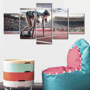 Prepare Running Woman 5 Panel Runway Canvas Art Prints-102 (1)
