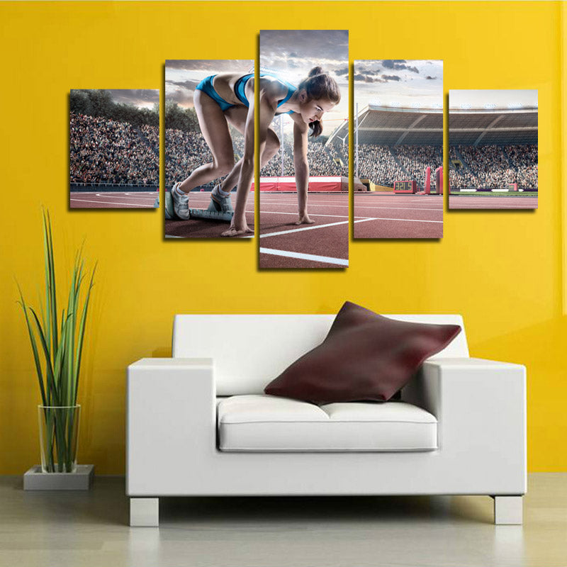 Prepare Running Woman 5 Panel Runway Canvas Wall Art Prints Picture ...
