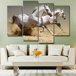 Running Horse Picture 4 Panel Animal Canvas Print Poster Wall Decor Art-135 (1)