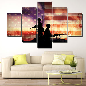 Soldier in New York 5 Piece America Flag Silhouettes Canvas Print-172 (1)
