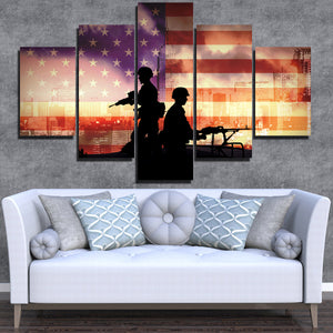Soldier in New York 5 Piece America Flag Silhouettes Canvas Print-172 (2)