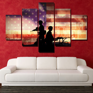 Soldier in New York 5 Piece America Flag Silhouettes Canvas Print-172 (3)