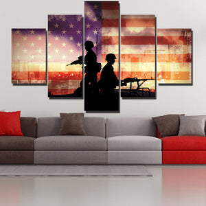 Soldier in New York 5 Piece America Flag Silhouettes Canvas Print-172 (4)