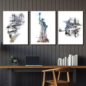 Statue of Liberty and City Canvas Wall Art Prints-009 (1)