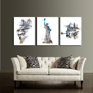 Statue of Liberty and City Canvas Wall Art Prints-009 (2)