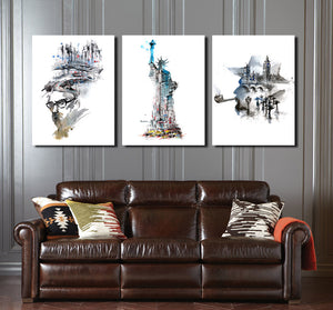 Statue of Liberty and City Canvas Wall Art Prints-009 (3)