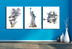 Statue of Liberty and City Canvas Wall Art Prints-009 (4)