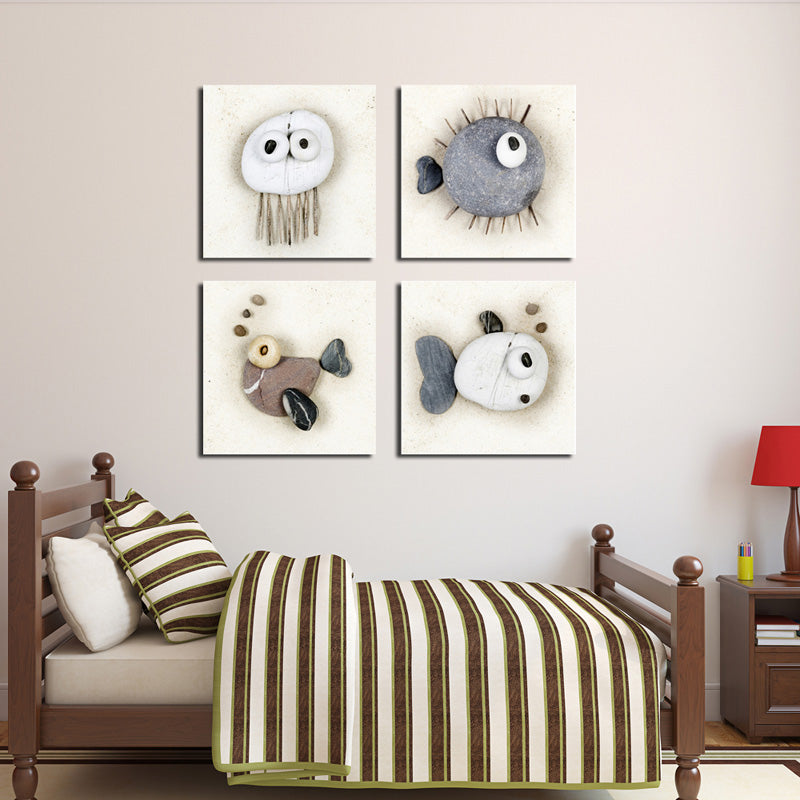4 Panel Lovely Stone Fish Canvas Wall Art Prints for Child Bedroom ...
