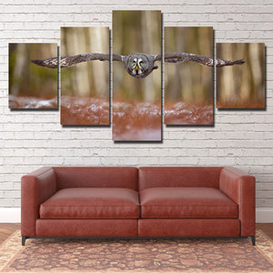 Strix Nebulosa Owl Print Picture Canvas Art 5 Panel Wall Painting- 132(1)