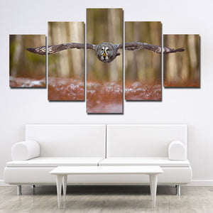 Strix Nebulosa Owl Print Picture Canvas Art 5 Panel Wall Painting- 132(3)