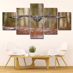 Strix Nebulosa Owl Print Picture Canvas Art 5 Panel Wall Painting- 132(4)