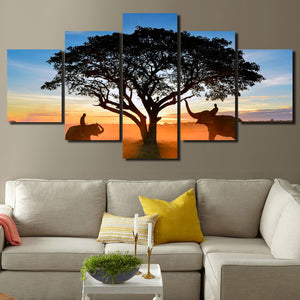 Sunrise Landscape Elephant Art Painting 5 Panel Canvas Print Picture-109 (1)