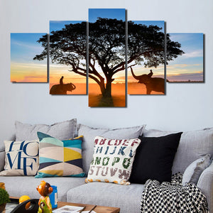 Sunrise Landscape Elephant Art Painting 5 Panel Canvas Print Picture-109 (2)