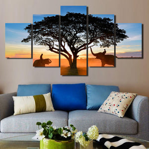 Sunrise Landscape Elephant Art Painting 5 Panel Canvas Print Picture-109 (3)