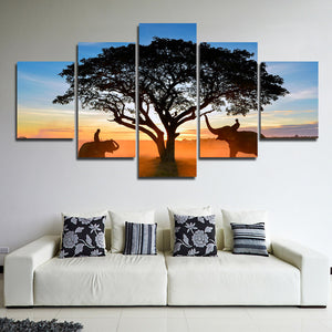 Sunrise Landscape Elephant Art Painting 5 Panel Canvas Print Picture-109 (4)