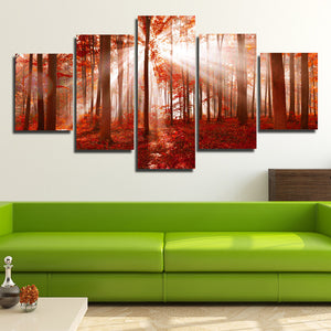 Sunshine Red Forest Canvas Painting 5 Panel Print Wall Art Picture Decor-118 (1)