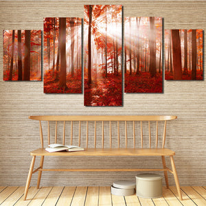 Sunshine Red Forest Canvas Painting 5 Panel Print Wall Art Picture Decor-118 (2)