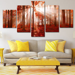 Sunshine Red Forest Canvas Painting 5 Panel Print Wall Art Picture Decor-118 (3)