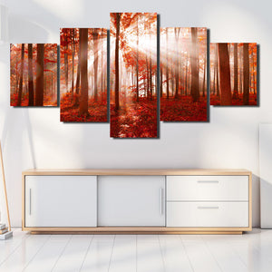 Sunshine Red Forest Canvas Painting 5 Panel Print Wall Art Picture Decor-118 (4)