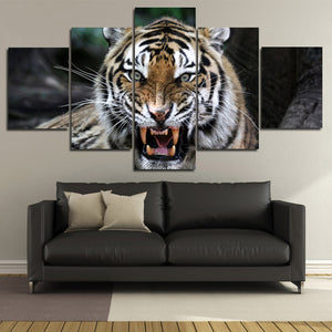 Tiger Roar Print Painting 5 Panel Modern Animal Canvas Picture Wall Art -124 (1)