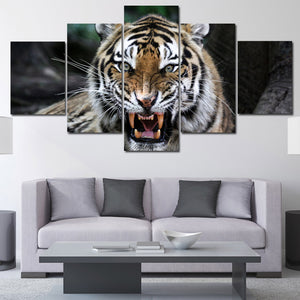 Tiger Roar Print Painting 5 Panel Modern Animal Canvas Picture Wall Art -124 (2)