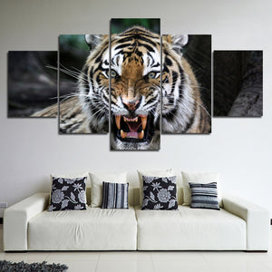 Tiger Roar Print Painting 5 Panel Modern Animal Canvas Picture Wall Art -124 (3)