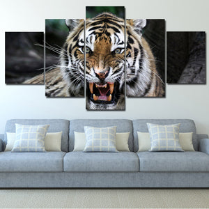 Tiger Roar Print Painting 5 Panel Modern Animal Canvas Picture Wall Art -124 (4)