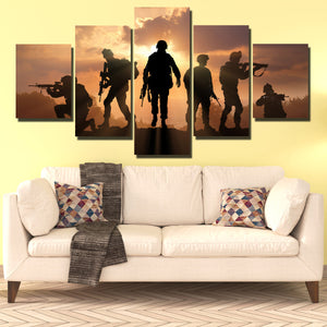 US Military Silhouettes 5 Panel Soldier Sunset Canvas Wall Art Print Poster-166 (1)